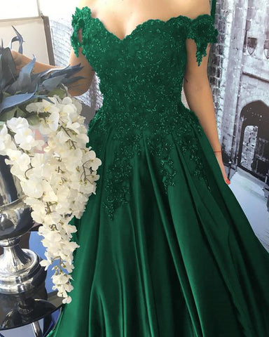 Image of Emerald Green Lace Flower Off Shoulder Prom Dresses 2020