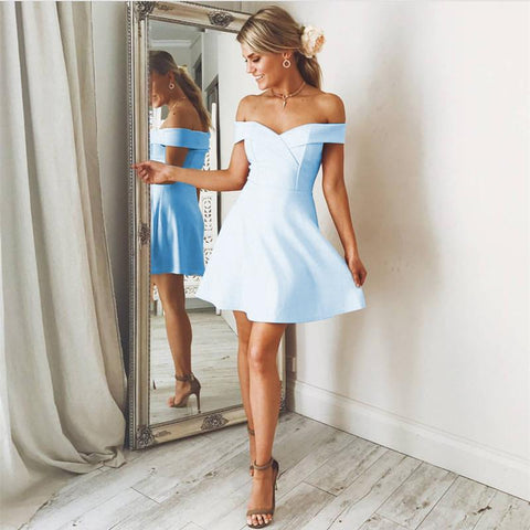 Image of Baby-Blue-Homecoming-Dresses-Short-Graduation-Dress