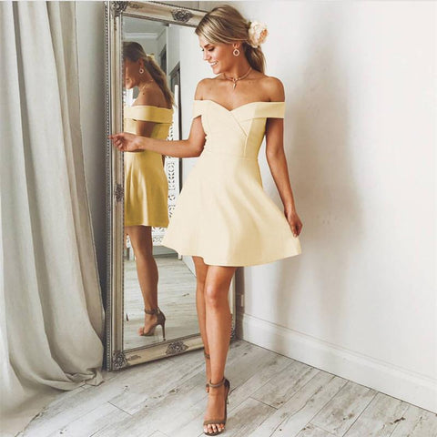 Image of Sexy V Neck Off The Shoulder Satin Homecoming Dresses For Cocktail Party