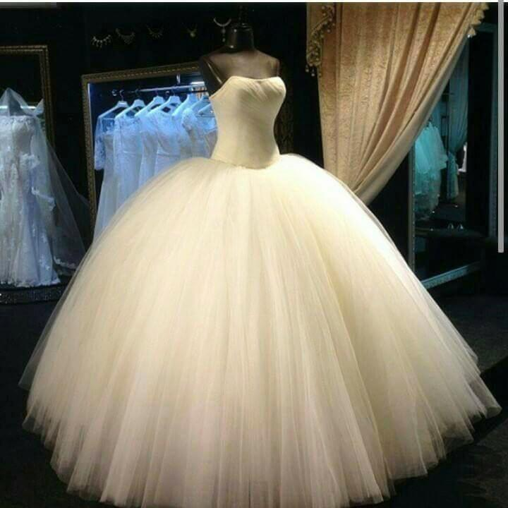 Simple Design Strapless Tulle Wedding Dresses Ball Gowns 2017