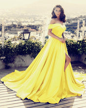 Afbeelding in Gallery-weergave laden, Yellow-Prom-Dresses-2019-Long-Satin-Split-Evening-Gowns