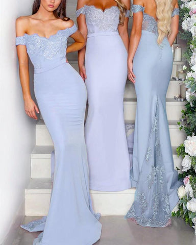 Image of Light-Blue-Bridesmaid-Dresses-Mermaid-Appliqued-Evening-Gowns