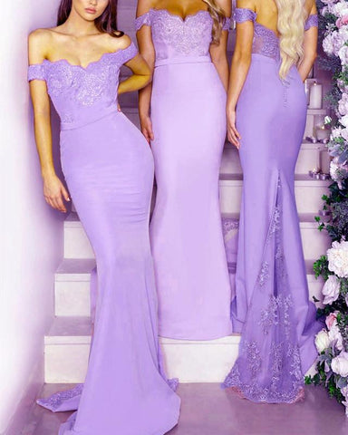 Image of Lilac-Bridesmaid-Dresses-Long-Mermaid-Formal-Gowns
