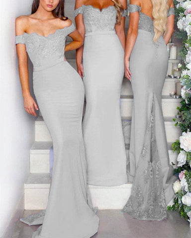 Image of Long-Gray-Bridesmaid-Dresses-Lace-Off-The-Shoulder-Formal-Occasion-Dresses-For-Wedding-Party