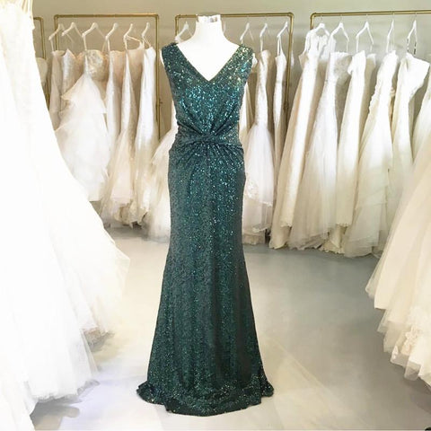 Image of Teal Green Sequins V Neck Bridesmaid Dresses Mermaid