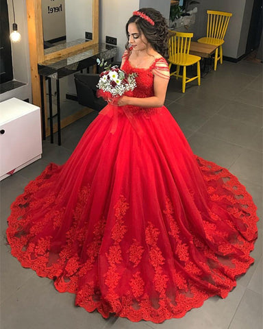 Image of Red Lace Appliques Wedding Dresses Ball Gowns With Tassell