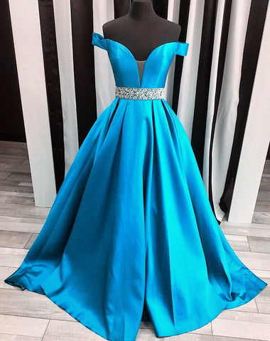 Image of off the shoulder satin ball gowns evening dresses 2017