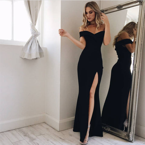 Image of Long Satin V-neck Mermaid Prom Dresses Off The Shoulder