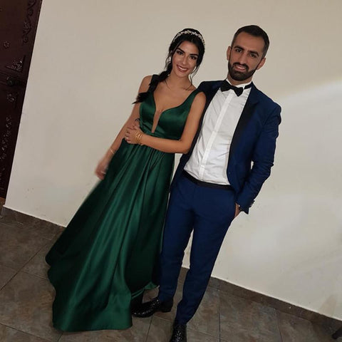 Image of Emerald Green Satin V-neck Prom Dresses Long Backless Evening Gowns