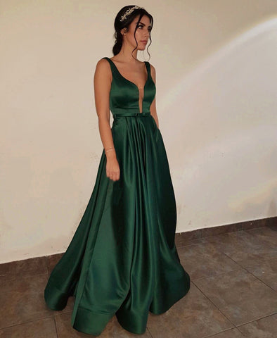 Image of Emerald-Green-Evening-Gowns-Long-Satin-Prom-Dresses-2019