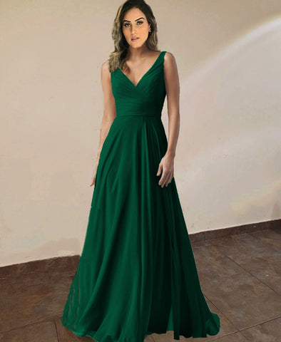 Image of Emerald-Green-Bridesmaid-Dresses-Chiffon-Prom-Gowns