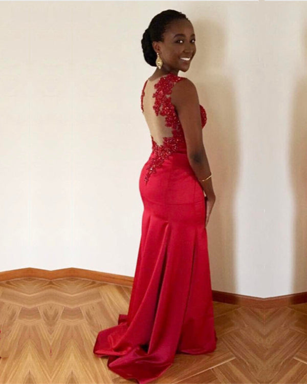 Red Satin Mermaid Prom Dresses Lace Appliques Evening Gowns