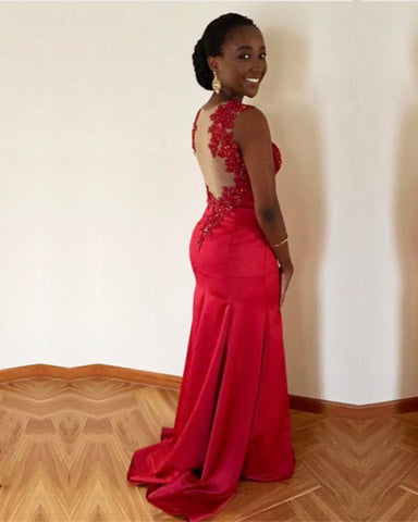 Image of Red Satin Mermaid Prom Dresses Lace Appliques Evening Gowns