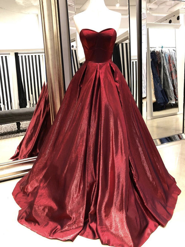 Sweetheart Ball Gowns Satin Prom Dresses 2019