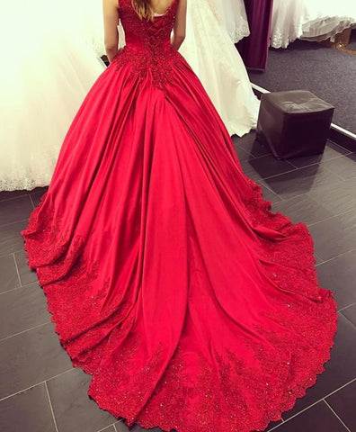 Image of Lace Appliques V-neck  Chapel Train Satin Ball Gowns Quinceanera Dress
