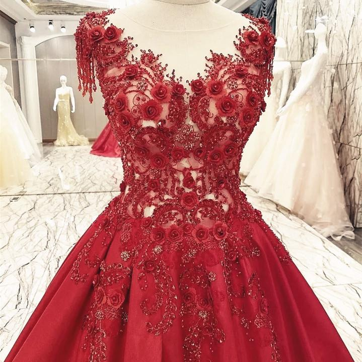 Burgundy Satin Ball Gowns Dresses Lace Embroidery For Wedding Party