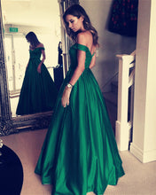 Load image into Gallery viewer, Dark Green Long Satin V-neck Evening Dresses Off-the-Shoulder Prom Dresses 2018