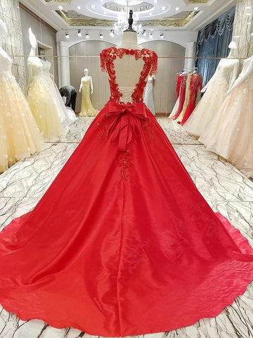Image of Burgundy Satin Ball Gowns Dresses Lace Embroidery For Wedding Party
