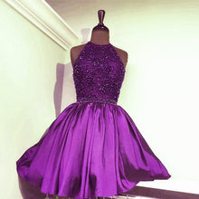 Load image into Gallery viewer, A Line Beaded Halter Satin Homecoming Dresses Short Prom Gowns 2017