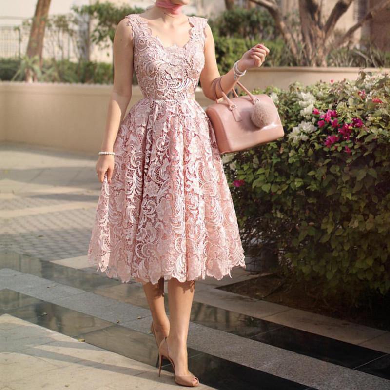 Vintage V Neck Tea Length Lace Wedding Guest Dresses