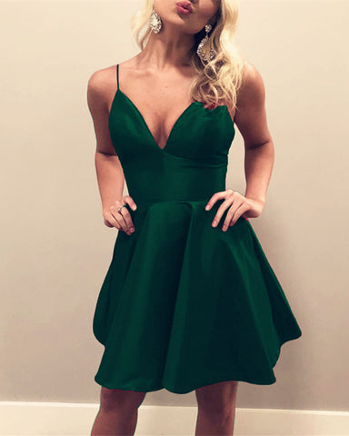 Image of Emerald-Green-Homecoming-Dresses-A-line-V-neck-Satin-Prom-Short-Dress