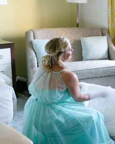 Image of Turquoise-Blue-Bridesmaid-Dresses-Long-Tulle-Social-Occasion-Dress