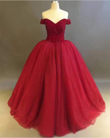 Image of Bling Bling Crystal Beaded Bodice Corset Maroon Quinceanera Dresses Off The Shoulder
