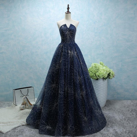 Image of strapless long tulle ball gowns evening dresses with sequins