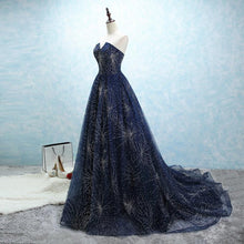 Afbeelding in Gallery-weergave laden, strapless long tulle ball gowns evening dresses with sequins