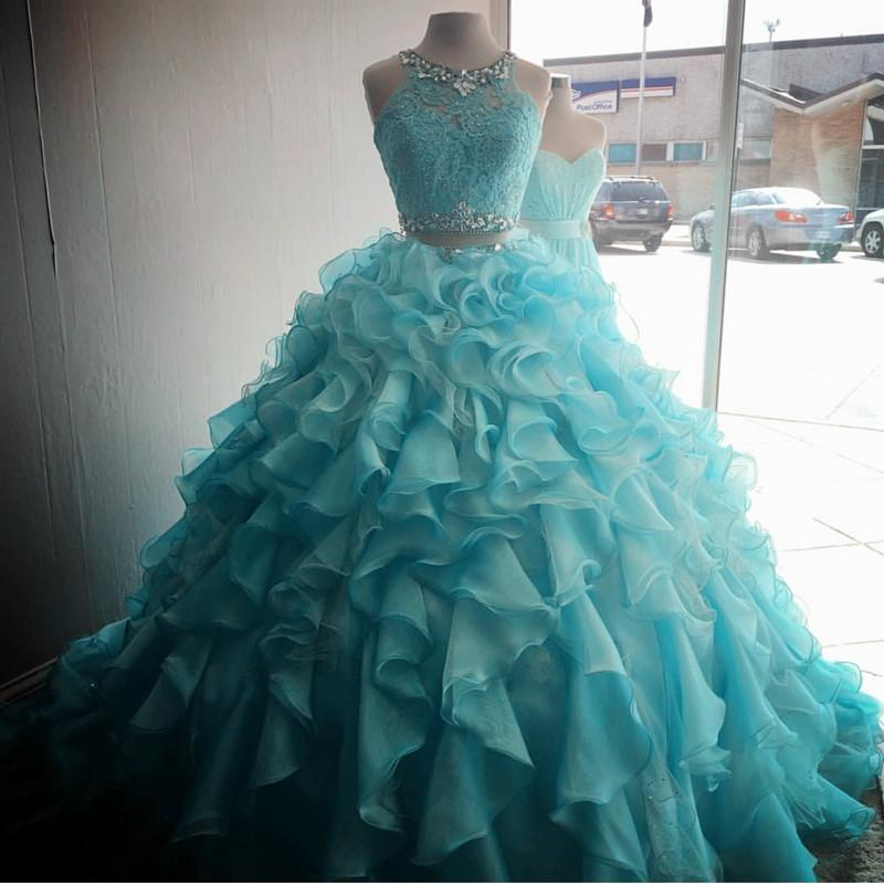 2b09ebaf2bc Two Piece Quinceanera Dresses Ball Gowns Organza Layered With Lace ...