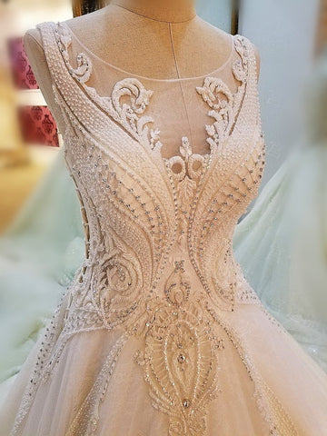 Image of Lace Embroidery Wedding Dresses Ball Gowns With Illusion Back
