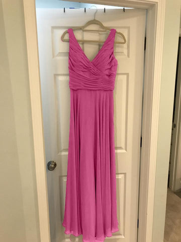 Image of Pink-Bridesmaid-Dresses-Chiffon-Evening-Gowns