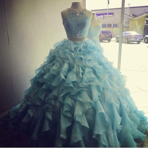 Image of Two Piece Quinceanera Dresses Ball Gowns Organza Layered With Lace Crop