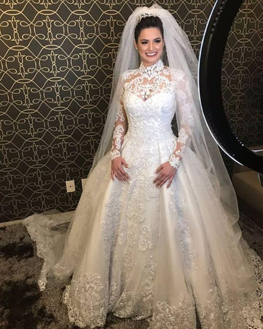 Image of High Neck Long Sleeves Wedding Lace Dresses
