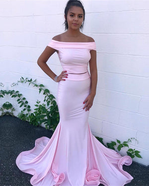Two Piece Prom Dresses Mermaid Off The Shoulder Evening Gowns
