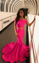 Load image into Gallery viewer, Two Piece Prom Dresses Mermaid Off The Shoulder Evening Gowns