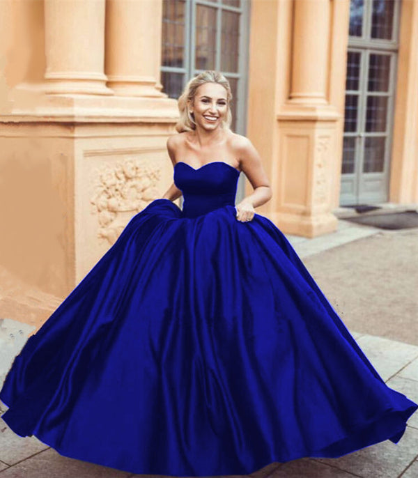 Sweetheart Bodice Corset Satin Prom Ball Gown Dresses