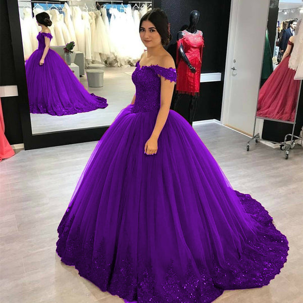 Lovely Lace Appliques V-neck Off Shoulder Tulle Maroon Wedding Dress Ball Gowns