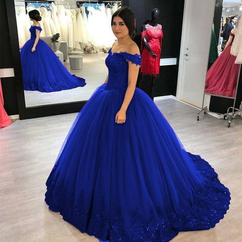 Image of Lovely Lace Appliques V-neck Off Shoulder Tulle Maroon Wedding Dress Ball Gowns