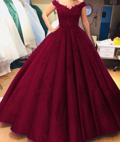 Image of Lace V-neck Off Shoulder Satin Ball Gown Quinceanera Dresses