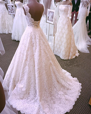 Image of Open Back Lace Wedding Dresses