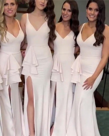 Image of Long-Bridesmaid-Dresses-Mermaid-V-neck-Formal-Gowns