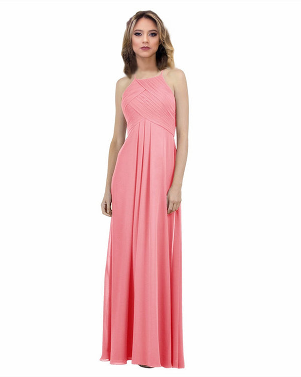 Elegant Pleated Halter Long Chiffon Floor Length Bridesmaid Dresses