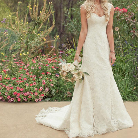 Image of Ivory Lace Sweetheart Boho Wedding Dresses With Detachable Straps