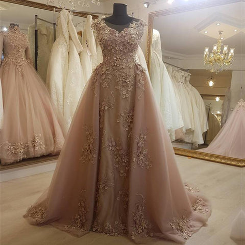 Image of Long Champagne Lace Mermaid Evening Gowns 2019 Elegant