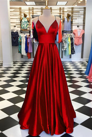 Image of Long Prom Dresses 2019 Satin V-neck Floor Length Evening Gowns