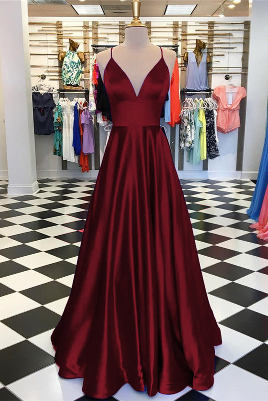 Long Prom Dresses 2019 Satin V-neck Floor Length Evening Gowns
