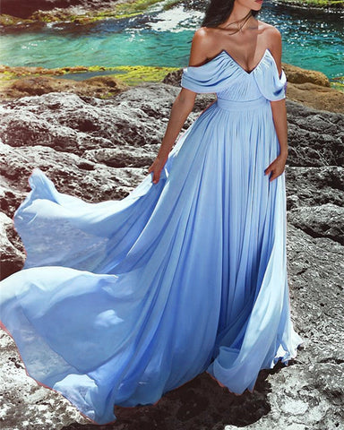 Image of Light-Blue-Prom-Dresses-2019-Long-Chiffon-Evening-Gowns