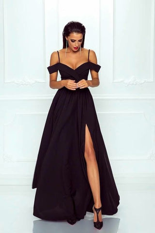 Spaghetti Straps Off Shoulder Long Satin Prom Dresses Leg Split