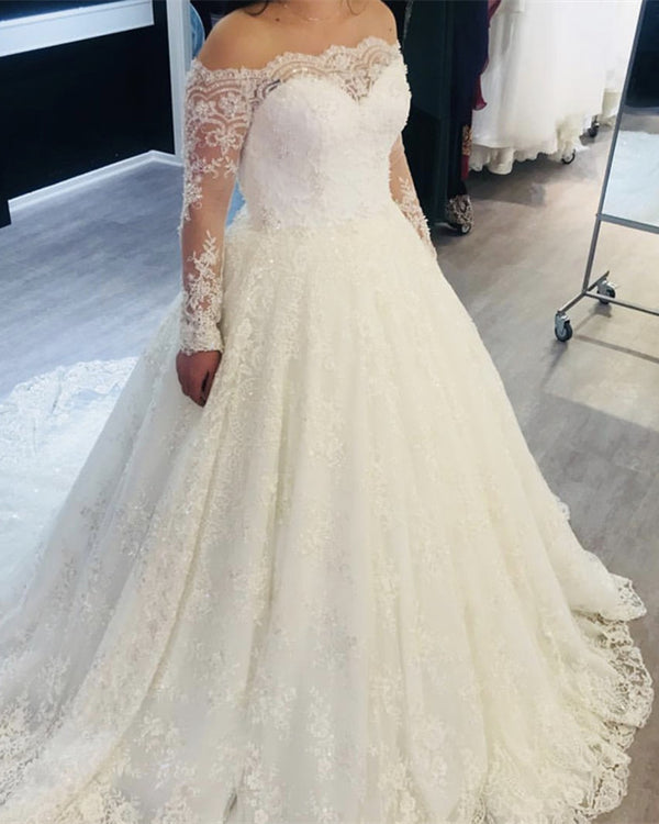 Off Shoulder Sheer Long Sleeves Lace Wedding Dresses 2019